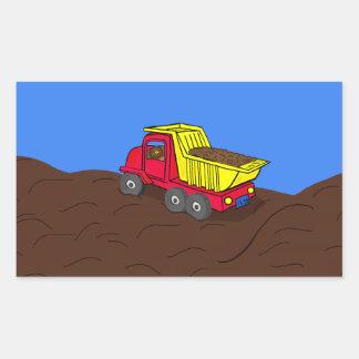 Arte rojo y amarillo del camión volquete del pegatina rectangular