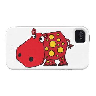 Arte rojo y amarillo enrrollado del hipopótamo iPhone 4 funda