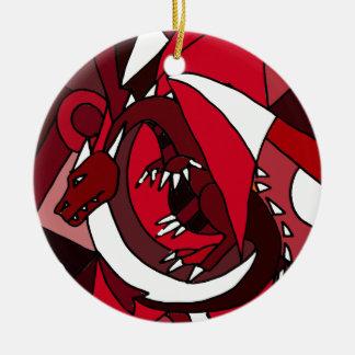 Arte rojo y blanco artístico colorido del dragón adorno navideño redondo de cerámica