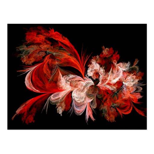 Arte rojo y blanco del fractal postales