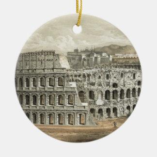 Arte romano del vintage del coliseo adorno navideño redondo de cerámica