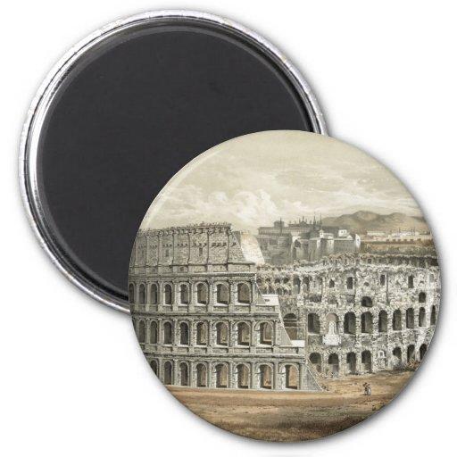 Arte romano del vintage del coliseo imán redondo 5 cm