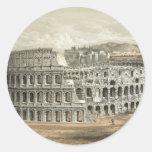 Arte romano del vintage del coliseo etiqueta redonda