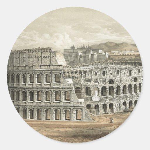 Arte romano del vintage del coliseo pegatina redonda