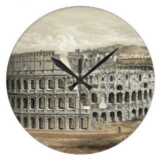 Arte romano del vintage del coliseo reloj redondo grande