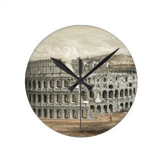 Arte romano del vintage del coliseo reloj redondo mediano