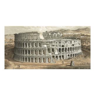 Arte romano del vintage del coliseo tarjeta personal con foto