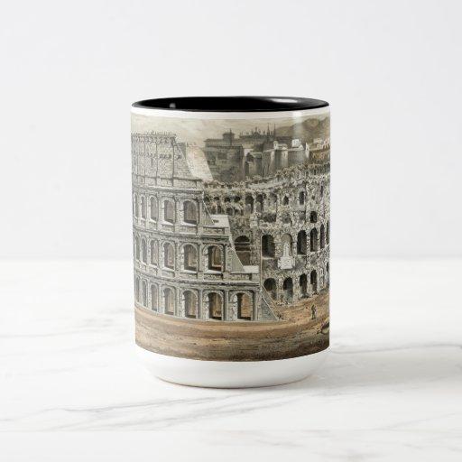 Arte romano del vintage del coliseo taza de dos tonos