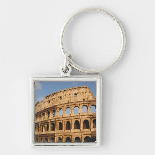 Arte romano. El Colosseum o el Flavian 3 Llavero Cuadrado Plateado