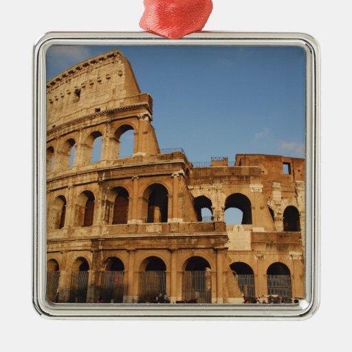 Arte romano. El Colosseum o el Flavian 4 Adorno Navideño Cuadrado De Metal