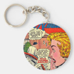 Arte romántico - arte cómico romántico del vintage llavero personalizado