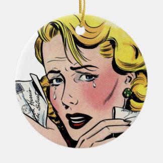 Arte romántico del vintage - primer romántico se adorno navideño redondo de cerámica