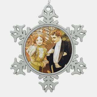 Arte romántico Nouveau del vintage del ligón de Adorno De Peltre En Forma De Copo De Nieve