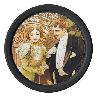 Arte romántico Nouveau del vintage del ligón de Fichas De Póquer