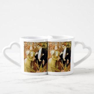 Arte romántico Nouveau del vintage del ligón de Taza Para Enamorados