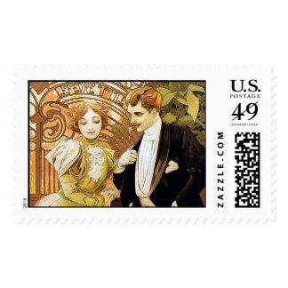 Arte romántico Nouveau del vintage del ligón de Timbres Postales