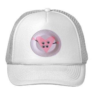 Arte rosado año del niño del corazón tres gorras