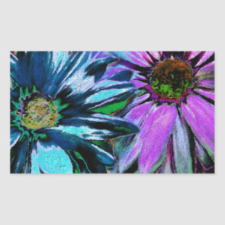 Arte rosado azul de la flor de la margarita pegatina rectangular