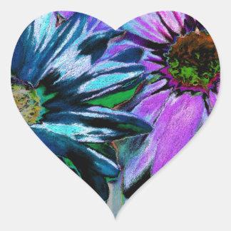 Arte rosado azul de la flor de la margarita pegatina en forma de corazón