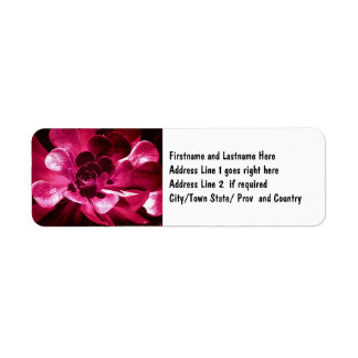 Arte rosado bonito de la flor etiqueta de remite