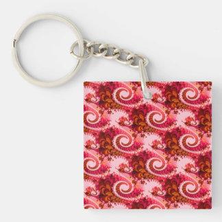 Arte rosado caliente del fractal de los remolinos llavero cuadrado acrílico a doble cara