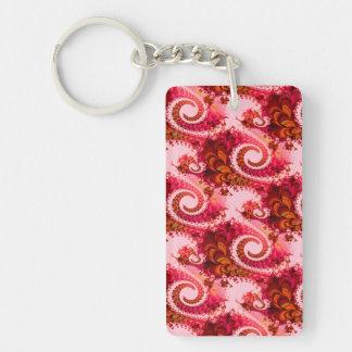 Arte rosado caliente del fractal de los remolinos llavero rectangular acrílico a doble cara