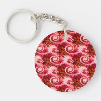 Arte rosado caliente del fractal de los remolinos llavero redondo acrílico a una cara