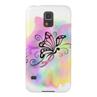arte rosado de la acuarela de la mariposa de la funda galaxy s5