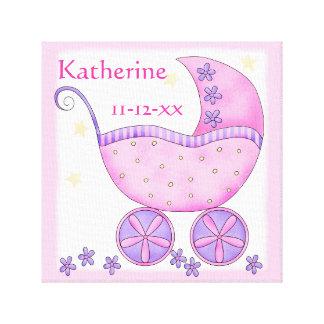 Arte rosado de la fecha de nacimiento del nombre lienzo envuelto para galerías