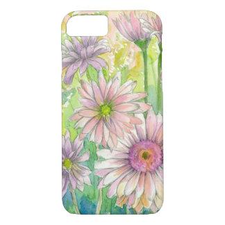 Arte rosado de la flor de la acuarela del ramo de funda iPhone 7