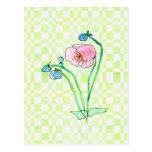 Arte rosado de la flor de la acuarela del Wildflow Tarjeta Postal