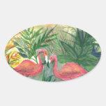 Arte rosado de la Florida de los flamencos Pegatina De Oval Personalizadas
