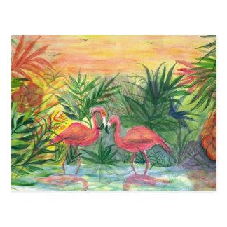 Arte rosado de la Florida de los flamencos Postales