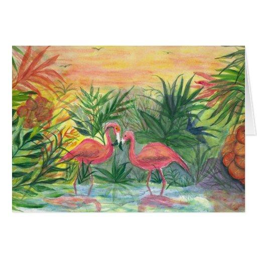 Arte rosado de la Florida de los flamencos Felicitacion