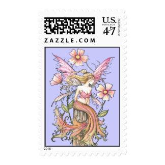 Arte rosado de la hada de la flor estampillas