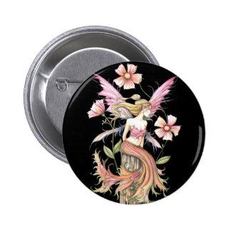 Arte rosado de la hada de la flor pin redondo de 2 pulgadas