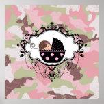 Arte rosado de la pared de la niña del camuflaje impresiones
