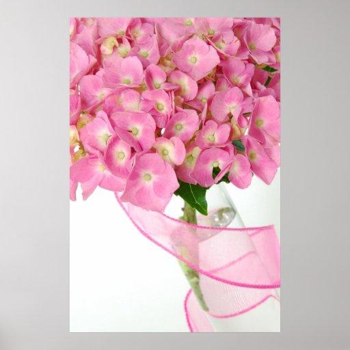 Arte rosado de la pared del Hydrangea Poster