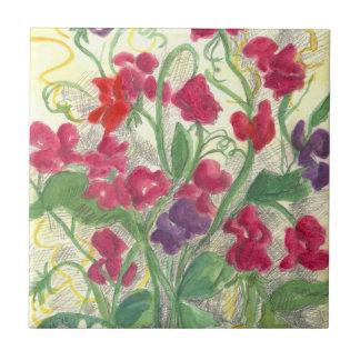 Arte rosado de la teja del jardín de flores de la