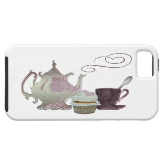 Arte rosado de la tetera, de la taza de té y de la funda para iPhone 5 tough