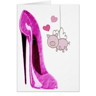 Arte rosado del cerdo del estilete y del vuelo tarjeta pequeña