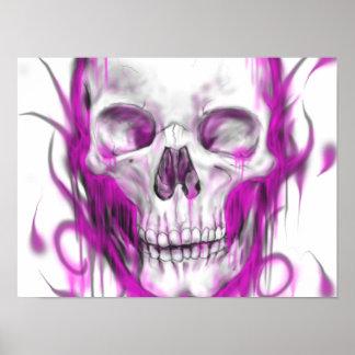 Arte rosado del cráneo póster