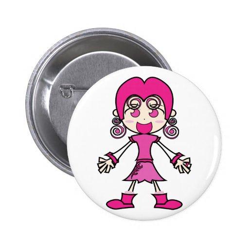 Arte rosado del dibujo animado del chica pin redondo 5 cm