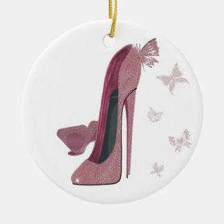 Arte rosado del estilete y de la mariposa de la adorno navideño redondo de cerámica