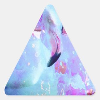 Arte rosado del flamenco pegatina triangular
