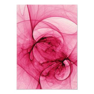 Arte rosado del fractal invitación 12,7 x 17,8 cm