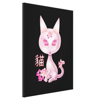 Arte rosado del gato de Kawaii con el carácter chi Impresion De Lienzo