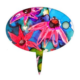 Arte rosado del jardín de flores del cono decoración de tarta