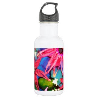 Arte rosado del jardín de flores del cono botella de agua de acero inoxidable
