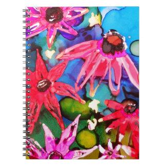 Arte rosado del jardín de flores del cono cuaderno